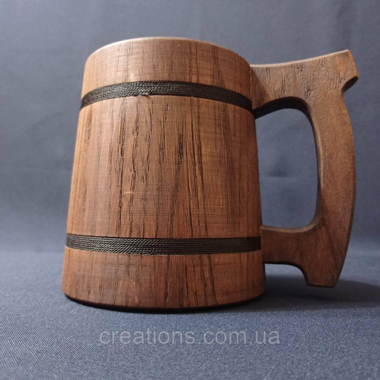 Деревянный бокал, металлическая вставка, пивная кружка, из дуба.