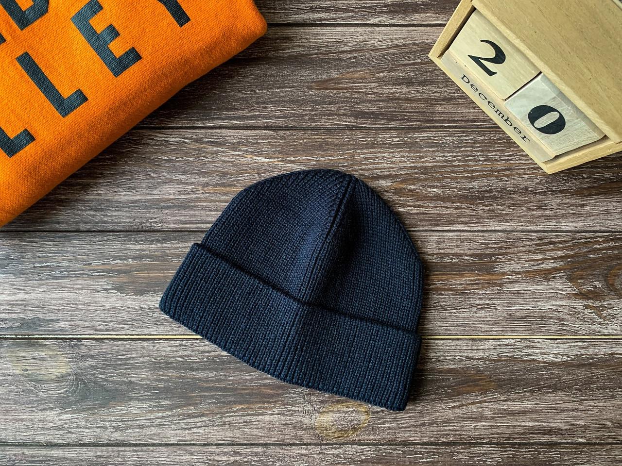 Мужская шапка бини темно-синяя