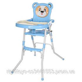 Стульчик 113-4 (1шт) для кормления,2в1(стульчик),cклад.,2-х точ.рем.безоп,регул.столик,синий