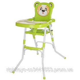 Стульчик 113-5 (1шт) для кормления,2в1(стульчик),cклад.,2-х точ.рем.безоп,регул.столик,зеленый