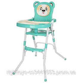 Стульчик 113-15 (1шт) для кормления,2в1(стульчик),cклад.,2-х точ.рем.безоп,регул.столик,бирюз.