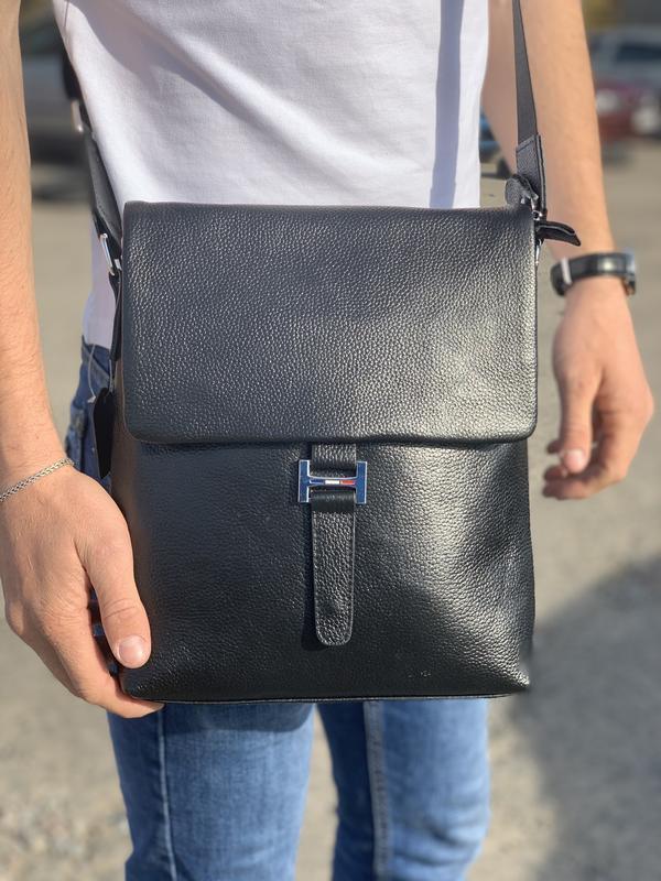 Мужская кожаная сумка через плечо с карманом Tiding Bag V75-3 черная