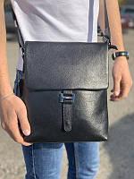 Чоловіча шкіряна сумка через плече з кишенею Tiding Bag V75-3 чорна