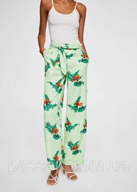 Новые широкие штаны с принтом mango, сток без бирки