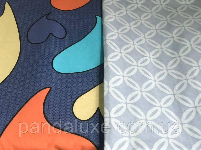 Постільна білизна, гарний двоспальний комплект Серця різнокольорові, фото 2