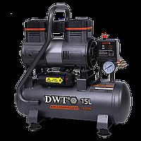 Компрессор воздушный безмасляный DWT K13-15 OA-CU, 1300 Вт, ресивер 15 л., производительность 100 л/мин, 7 бар
