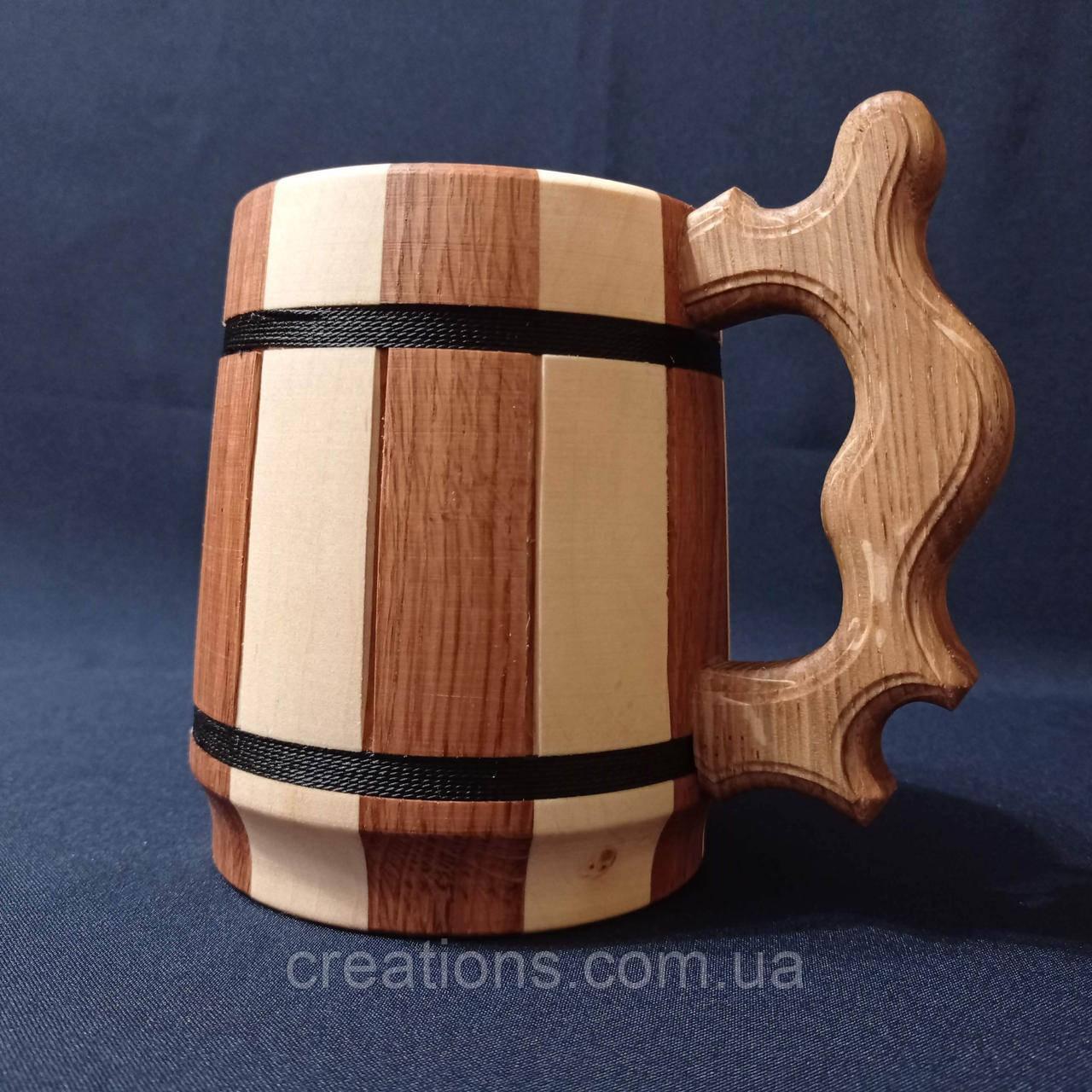 Деревянный бокал, металлическая вставка, пивная кружка, из двух пород дерева