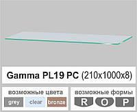 Стеклянная полка прямоугольная Commus PL19 PC (210х1000х8мм)