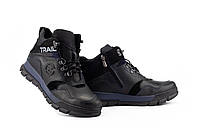 Подростковые ботинки кожаные зимние черные-синие Zangak 155 ч,кр+син