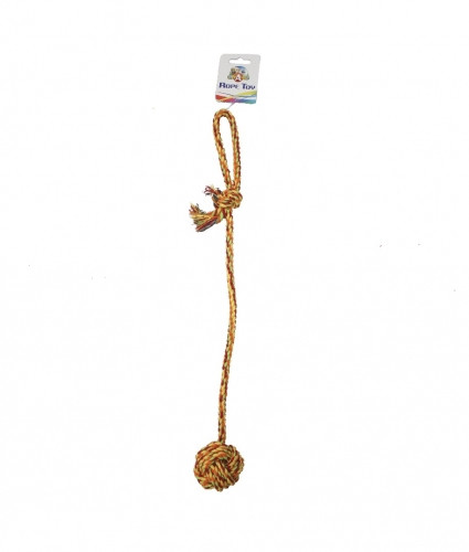 Іграшка для собак канат грейфер вузловий м'яч з довгою ручкою 56см, CaniAMici