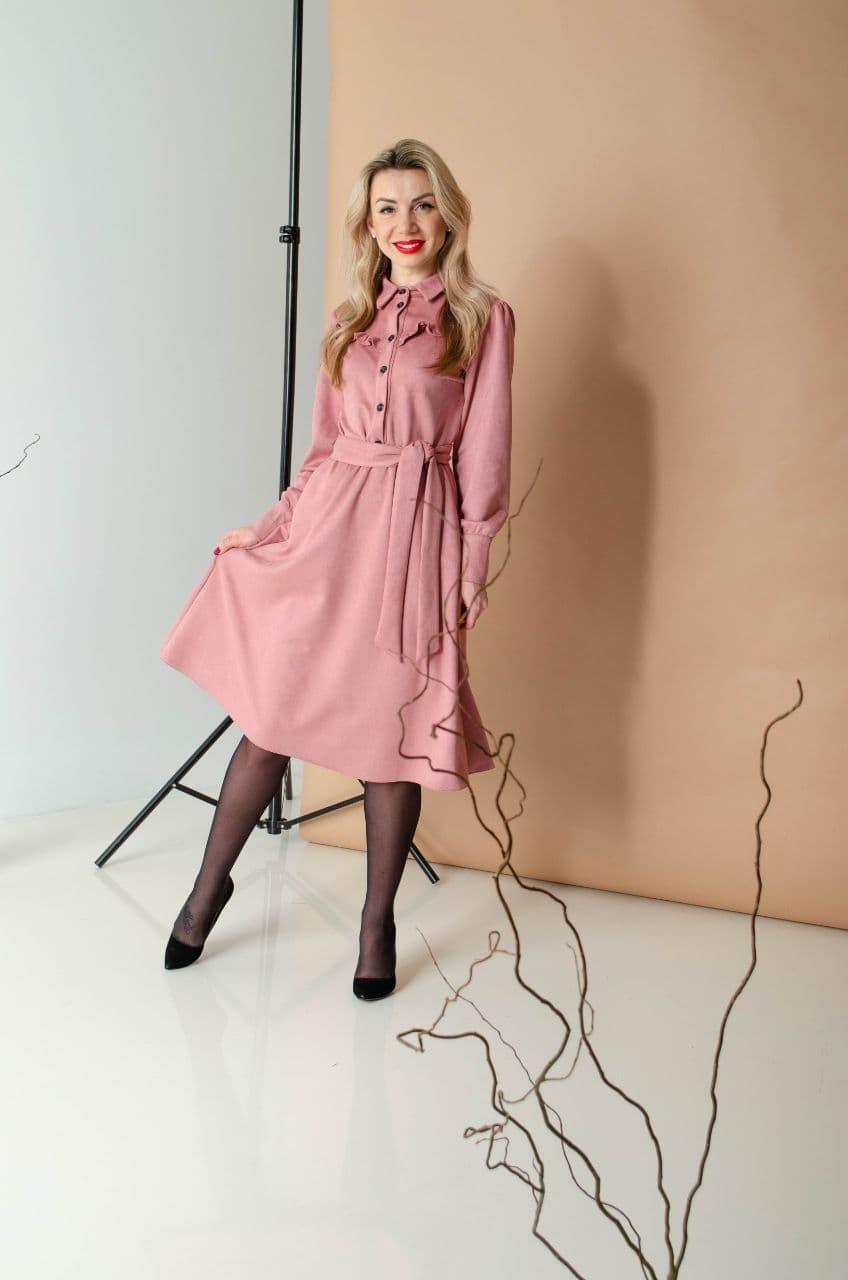 Сукня сорочкового покрою рожева