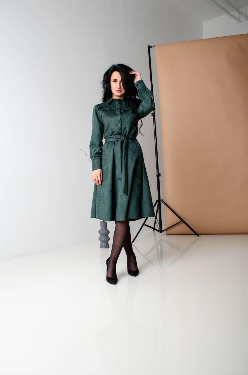 Сукня замшева зелена