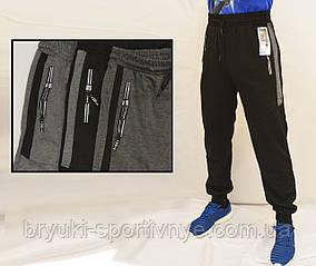 Штани спортивні чоловічі трикотажні під манжет Штани спортивні з вставками (Чорний)