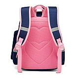 Прочный школьный светоотражающий рюкзак с ортопедической спинкой и пеналом для девочки 7, 8, 9, 10 лет, фото 2