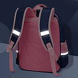 Прочный школьный светоотражающий рюкзак с ортопедической спинкой и пеналом для девочки 7, 8, 9, 10 лет, фото 4