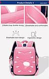 Прочный школьный светоотражающий рюкзак с ортопедической спинкой и пеналом для девочки 7, 8, 9, 10 лет, фото 5