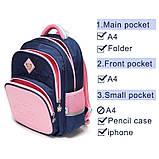 Прочный школьный светоотражающий рюкзак с ортопедической спинкой и пеналом для девочки 7, 8, 9, 10 лет, фото 8