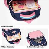 Прочный школьный светоотражающий рюкзак с ортопедической спинкой и пеналом для девочки 7, 8, 9, 10 лет, фото 9