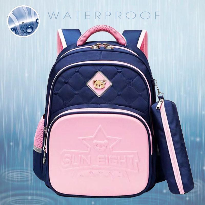 Прочный школьный светоотражающий рюкзак с ортопедической спинкой и пеналом для девочки 7, 8, 9, 10 лет