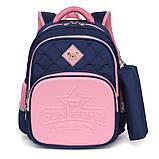 Школьный анатомический светоотражающий рюкзак с пеналом для девочки 3, 4, 5 класс (8-9-10-11 лет) портфель, фото 2