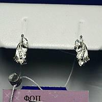 Серьги Перья серебро с цирконом сс 282, фото 1