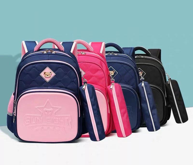 Школьный анатомический светоотражающий рюкзак с пеналом для девочки 3, 4, 5 класс (8-9-10-11 лет) портфель