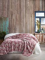 Плед Покрывало двуспальное на кровать 220*240 Марсала Лист