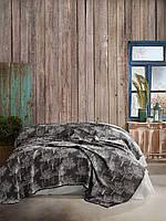 Плед Покрывало двуспальное на кровать 220*240 Черное дерево