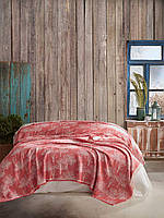 Плед Покрывало двуспальное на кровать 220*240 Красное дерево