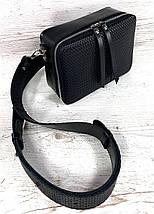 61-3-р Натуральная кожа Сумка женская через плечо Кросс-боди на широком ремне Сумка женская на плечо черная, фото 3