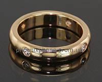 Классическое кольцо с фианитами, покрытое золотом (108850)