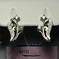 Серебряные серьги с цирконом Тюльпан сс 296, фото 1