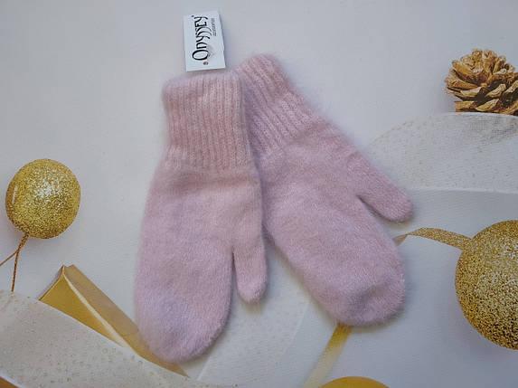 Варежки из ангоры  ODYSSEY 45716 розовый, фото 2