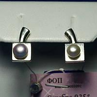 Серебряные серьги с искусственным жемчугом родированные сс 372, фото 1