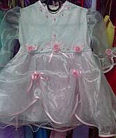 """Детское платье """"Распродажа"""" бело-розовое (Р-2) на 1-3 года"""