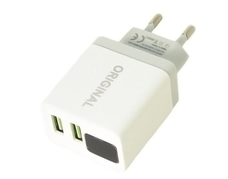 Зарядное устройство адаптер 220В CX QC03 5740 с 2 USB и LED дисплеем