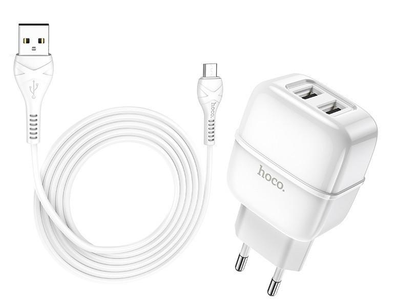 Адаптер сетевой HOCO Micro USB cable Highway C77A 2USB, 2.4A, белый