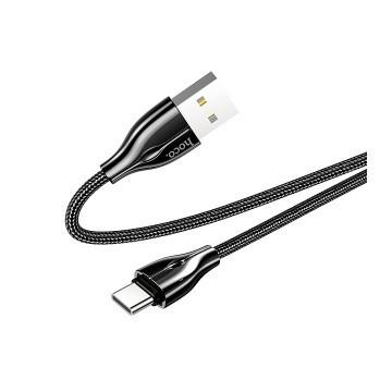 Кабель Hoco Type-C LED U88, 1.2 м, 3А, черный