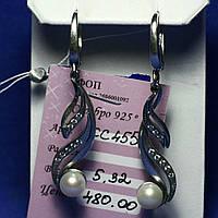 Длинные серебряные серьги с жемчугом сс 455
