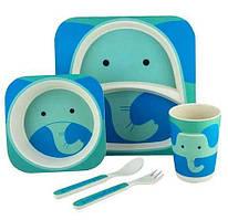 Набор детской бамбуковой посуды Stenson MH-2770-26 слон, 5 предметов