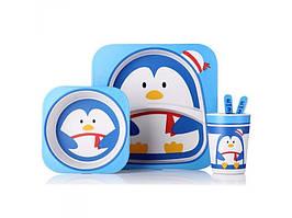 Набор детской бамбуковой посуды Stenson MH-2770-22 пингвин 2, 5 предметов
