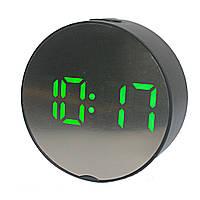 Часы зеркальные с зеленой подсветкой DT-6505 5427, черные