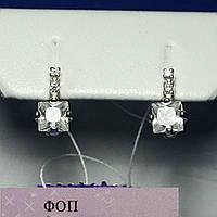 Серьги из серебра с цирконом Квадрат сс-473, фото 1