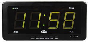 Часы Caixing CX-2159 с зеленой подсветкой, черные