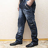 Мужские всесезонные джинсы темно-синего цвета в стиле Diesel. Демисезонные джинсы карго (cargo) с карманами, фото 3