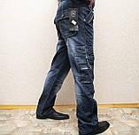 Мужские всесезонные джинсы темно-синего цвета в стиле Diesel. Демисезонные джинсы карго (cargo) с карманами, фото 5