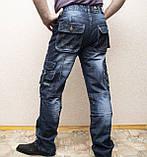 Мужские всесезонные джинсы темно-синего цвета в стиле Diesel. Демисезонные джинсы карго (cargo) с карманами, фото 7
