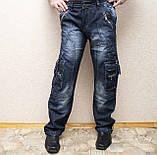 Мужские всесезонные джинсы темно-синего цвета в стиле Diesel. Демисезонные джинсы карго (cargo) с карманами, фото 8