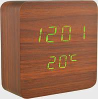 Часы настольные VST-872 с зеленой подсветкой, коричневые