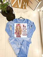 Женская махровая пижама с рисунком